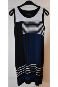 Granatowa czarna biała sukienka w poziome pionowe paski na szerokich ramiączkach C&A rozmiar M