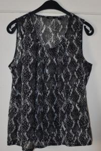 Elegancka bluzka z wężowym wzorem lekko prześwitująca bombka Es...