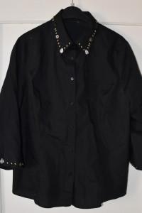 Elegancka czarna koszula z ozdobnymi koralikami rękaw 3 4 rozmi...