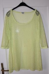 Narzutka tunika sukienka żółta zielona siateczka rękaw 3 4 Esma...