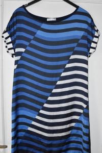 Sukienka asymetryczne paski krótki rękaw na co dzień Promod rozmiar XL