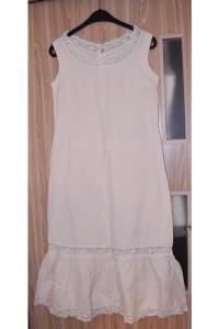 Biała kremowa sukienka za kolano midi lniana koronka falbana rozmiar M