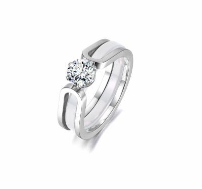 Pierścionki Nowe pierścionki obrączka komplet srebrny kolor biały cyrkonia