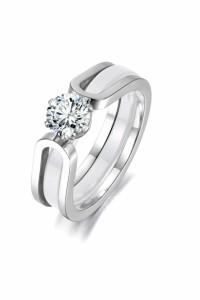 Nowe pierścionki obrączka komplet srebrny kolor biały cyrkonia...