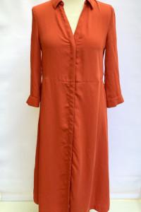 Sukienka Pomarańczowa H&M S 36 Elegancka Prosta Militarna
