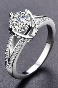 Nowy pierścionek srebrny kolor biała cyrkonia królewski eleganc...