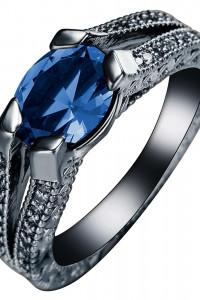 Nowy pierścionek czarny niebieska cyrkonia oczko dark goth retr...