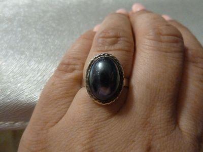 Pierścionki pierścionek srebrny z hematytem wokół warkocz