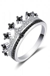 Nowy pierścionek srebrny kolor czarne cyrkonie korona tiara diadem celebrytka