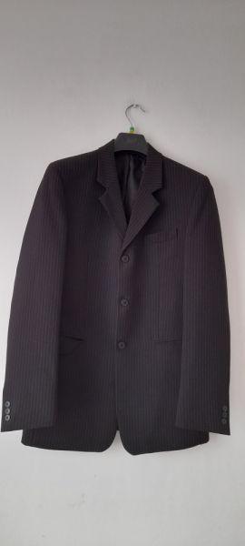 Garnitury i marynarki Czarny trzyczęściowy garnitur męski w paski L XL