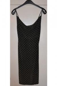 Czarna brokatowa elastyczna sukienka na ramiączkach za kolano z...