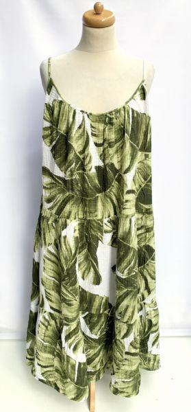 Suknie i sukienki Sukienka Long H&M Liście Monstery Długa XXL 44 Maxi