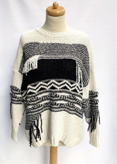 Swetry Sweter River Island Frędzle M 38 Oversize Kremowy