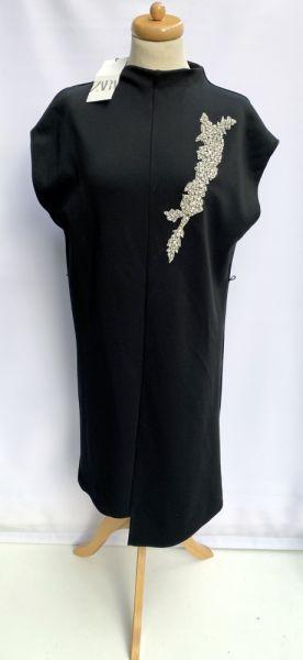 Suknie i sukienki Sukienka NOWA Czarna Zara M 38 Kryształki Mała Czarna Elegancka