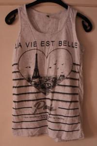 Biała koszulka na ramiączkach czarny print serce Paris brokat r...