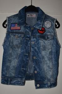 Jeansowa dżinsowa kamizelka z naszywkami amerykańska flaga czer...