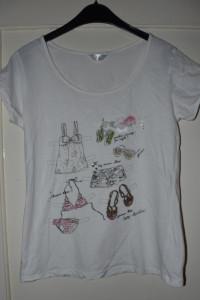 Biała bawełniana koszulka z krótkim rękawem nadruk ubrania koka...