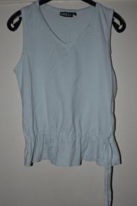 Błękitna bawełniana bluzka z baskinką z dekoltem V rozmiar M L...