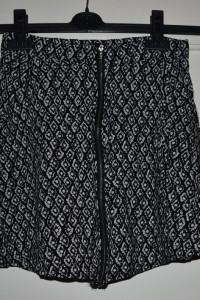 Przepiękna czarna spódnica w białe wzory z wysokim stanem zamek z przodu Sinsay rozmiar XS