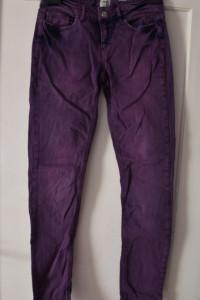 Śliwkowe fioletowe jeansy dżinsy biodrówki gruby materiał ideal...