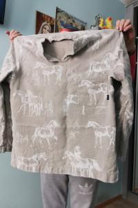 Bluzka lniana włoska konie m...