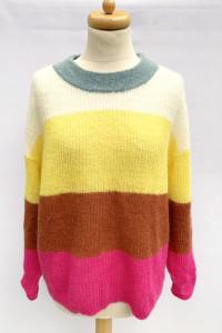 Sweter Paski Kolorowy Lindex S 36 Wełna Luźny Moher