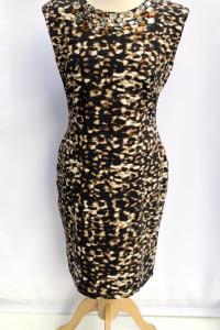 Sukienka Panterka H&M Cętki Kryształki L 40 Wizytowa
