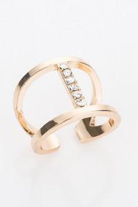 Nowy pierścionek złoty kolor białe cyrkonie celebrytka