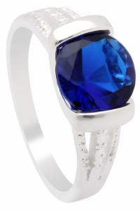 Nowy pierścionek srebrny kolor niebieska cyrkonia oczko prosty