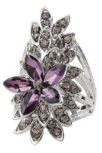 Nowy duży pierścionek kwiat fioletowy srebrny kolor białe cyrkonie