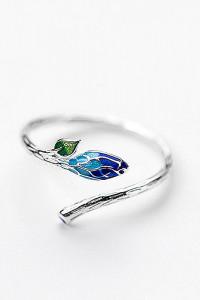 Nowy pierścionek srebrny srebro 925 kwiat gałązka pąk natura wiosna niebieski