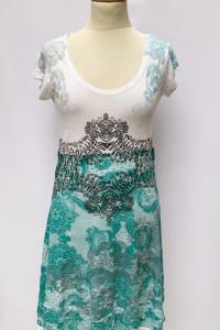 Sukienka Disigual Wzory L 40 Biała Rozkloszowana Boho