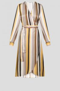 Nowa sukienka Orsay w paski L 40 retro wiązana pasy dekolt kope...