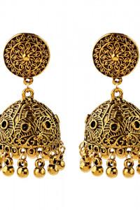 Nowe indyjskie kolczyki Jhumka złoty kolor folk etno boho hippie bohema Bollywood