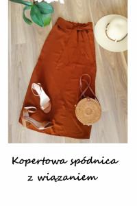 Asymetryczna kopertowa spódnica z wiązaniem z paskiem ruda ceglasta