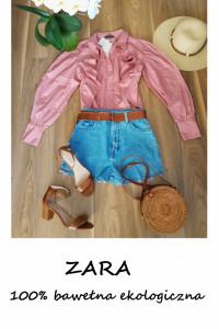 Nowa z metkami koszulowa bluzka ZARA bawełna ekologiczna szerokie balonowe rękawy S M