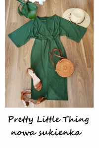 Nowa sukienka Pretty Little Thing X S M kopertowa tulipan khaki zielona