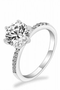 Nowy pierścionek elegancki srebrny kolor białe cyrkonie duża cyrkonia oczko