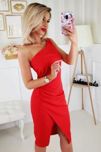 Czerwona krótka sukienka jedno ramię 34 36 38 40 42 44