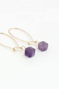 Nowe kolczyki długie fioletowy kamień złoty kolor boho hippie etno