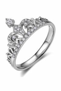 Nowy pierścionek srebrny kolor korona tiara diadem królowa celebrytka cyrkonie