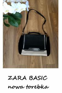 Nowa torebka A4 Zara Basic aktówka czarno biała...