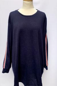 Bluza Bluzka Granatowa Lampasy XL Zizzi Oversize