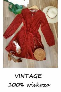 Jesienna sukienka vintage w kropki długi rękaw wiskoza