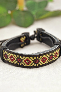 Nowa bransoletka regulowana hippie boho tribal wzór haft brązowa