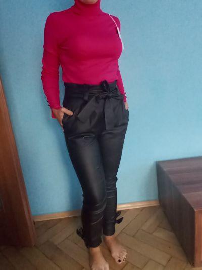 Codzienne Golf damski róż spodnie czarne skórkowe