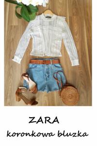 Biała koronkowa bluzka ZARA S M elegancka basic minimalizm