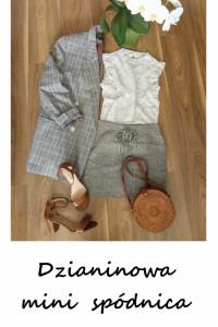 Szara vintage mini spódniczka dzianina zimowa