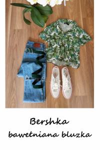 Bawełniana bluzka Bershka na guziki S liście tukany