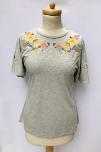 Bluzka Szara Dorothy Perkins L 40 T Shirt Hafty Kwiaty